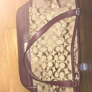 Coach Purse With Burgundy Accents